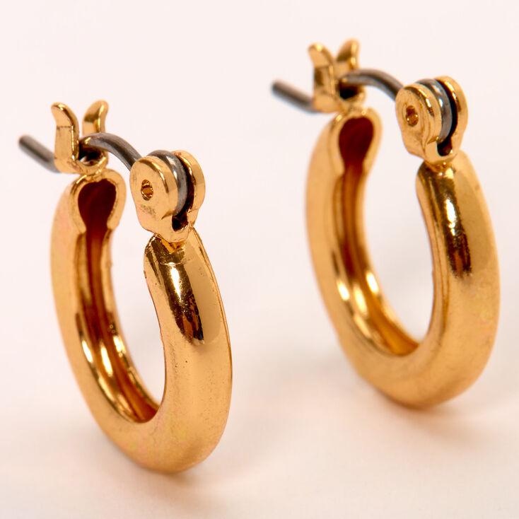 Gold 10MM Tube Hoop Earrings,