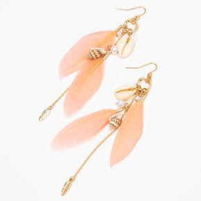 Pendantes à plumes, coquillages cauris et conques 10cm couleur dorée - Rose,