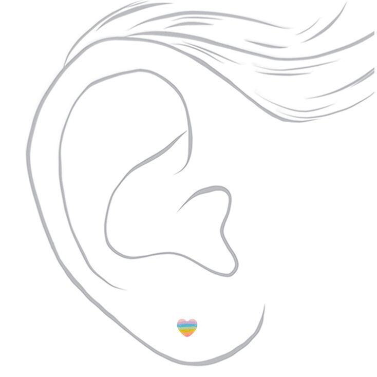 Silver Glitter Rainbow Heart Stud Earrings,