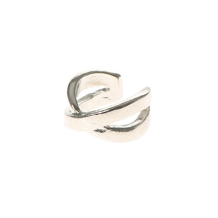 Silver Criss Cross Ear Cuff,