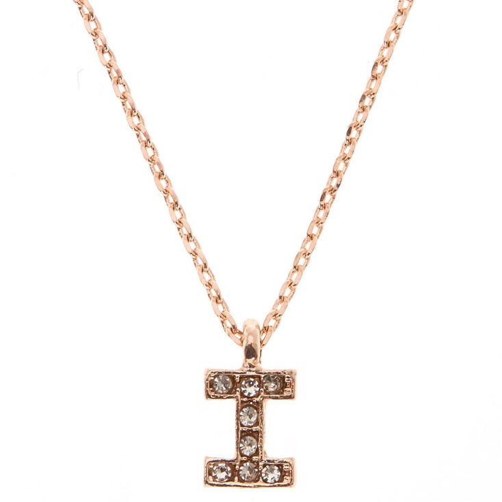 Rose Gold Embellished Initial Pendant Necklace - I,