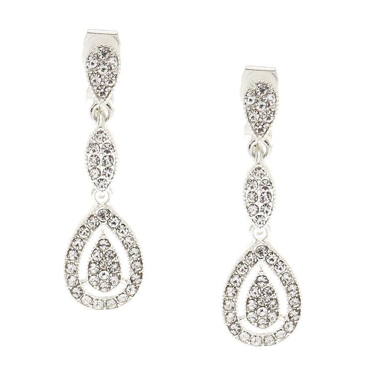 Silver Tone Faux Crystal Teardrop Clip On Drop Earrings