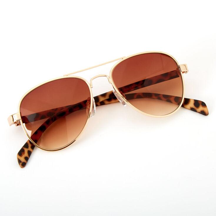 Claire's Club Leopard Print Aviator Sunglasses,