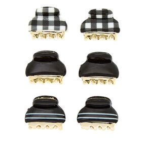 Gingham Stripe Mini Hair Claw - Black, 6 Pack,