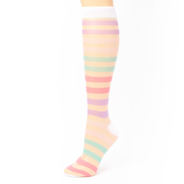 Pastel Striped Sheer Knee High Socks,