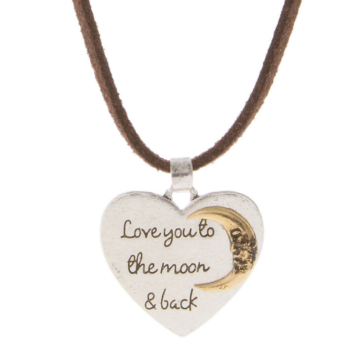 Love you to the moon back heart shaped pendant on brown cord love you to the moon amp back heart shaped pendant on brown cord necklace aloadofball Gallery