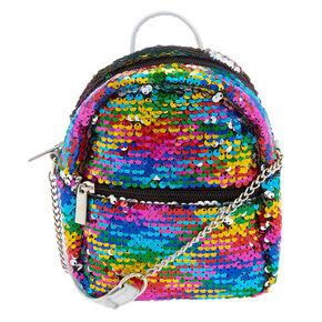 Reversible Sequins Mini Backpack Crossbody Bag - Rainbow,