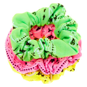 Claire's Club Small Neon Paisley Hair Scrunchies - 3 Pack,