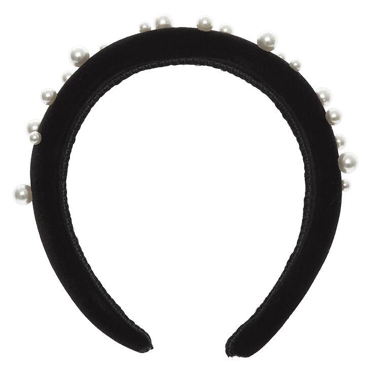 Velvet Pearl Puff Headband - Black,