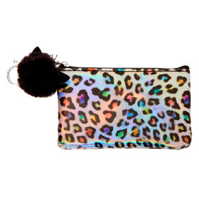Holographic Rainbow Leopard Coin Purse - Silver,