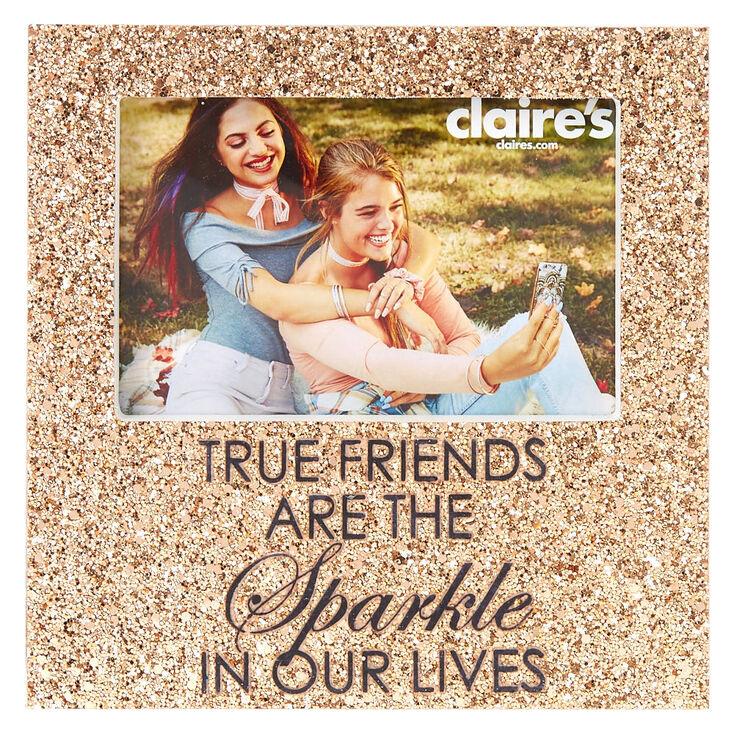 Glitter True Friends Photo Frame Rose Gold
