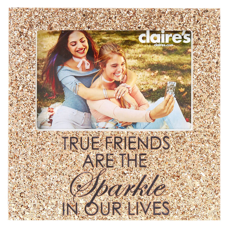 Glitter True Friends Photo Frame Rose Gold Claires