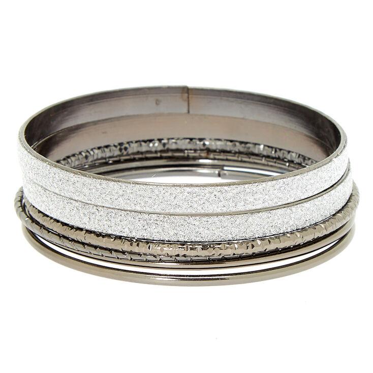 Hematite Glitter Bangle Bracelets - 6 Pack,