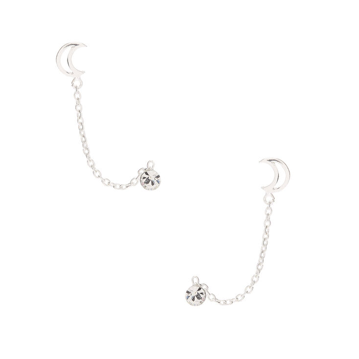 Sterling Silver Open Moon Connector Chain Stud Earrings,