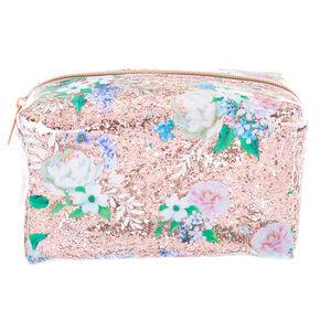 Glitter Floral Makeup Bag - Pink,