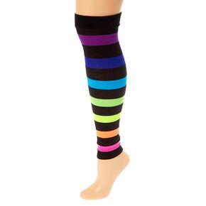 Neon Striped Leg Warmers - Black,