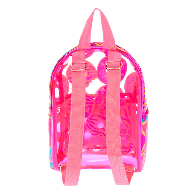 Neon Animal Donut Print Small Backpack - Pink,