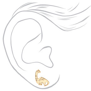 Gold Mixed Dinosaur Stud Earrings - 6 Pack,