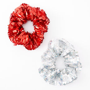Small Red & Silver Sequin Hair Scrunchies - 2 Pack,