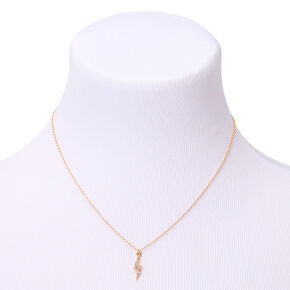 Gold Lightning Bolt Pendant Necklace,