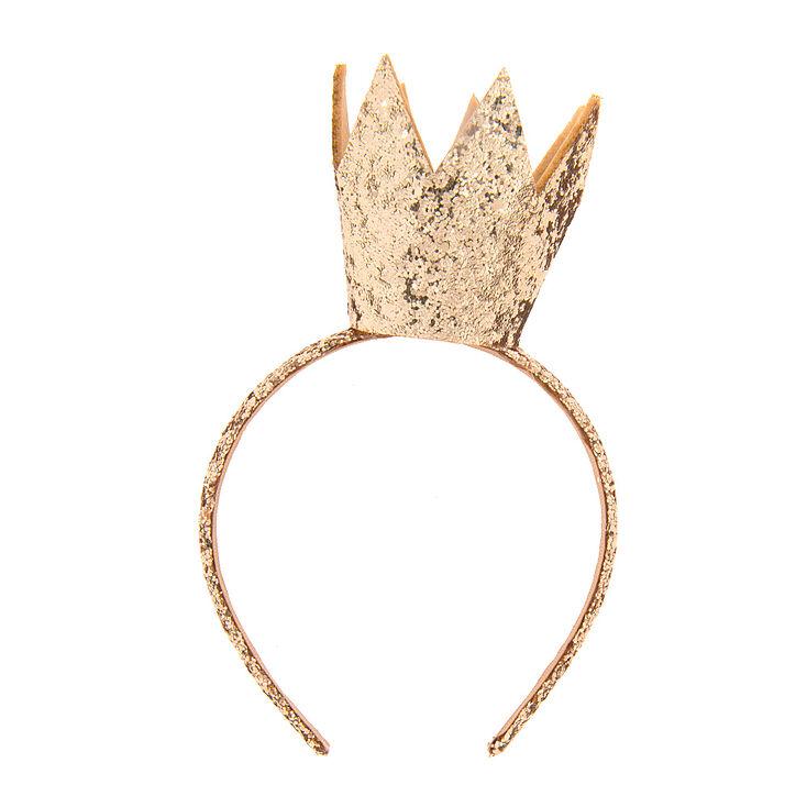 Kids Gold Glitter Crown Headband  8ee23e14211
