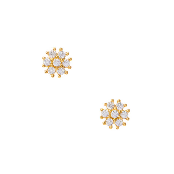 18kt Gold Plated Cubic Zirconia Daisy Stud Earrings