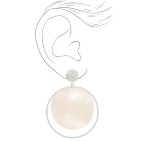 "Silver 2.5"" Shell Disk Drop Earrings - White,"