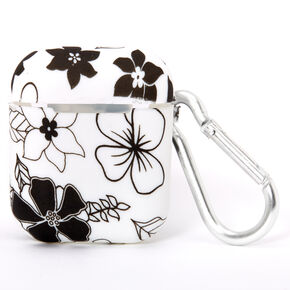 Black & White Floral Silicone Earbud Case Cover - Compatible With Apple AirPods,