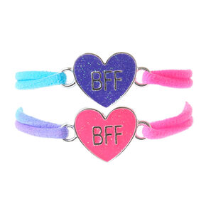 Neon Glitter Heart Stretch Friendship Bracelets - 2 Pack,