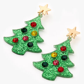 "Gold 2"" Glitter Christmas Tree Drop Earrings - Green,"