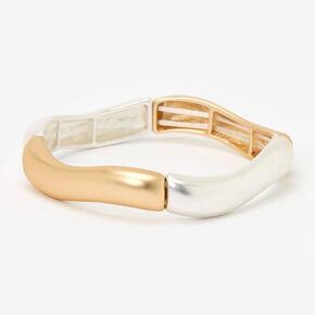 Wavy Bars Stretch Bangle Bracelet - Gold/Silver,