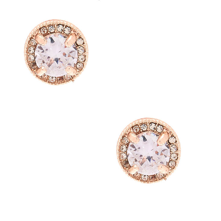 fc8c80506 Rose Gold Cubic Zirconia Stud Earrings | Claire's US
