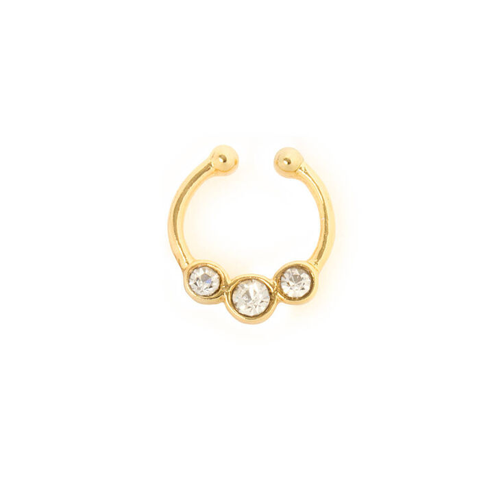 Gold Three Crystal Faux Septum Ring Claire S Us