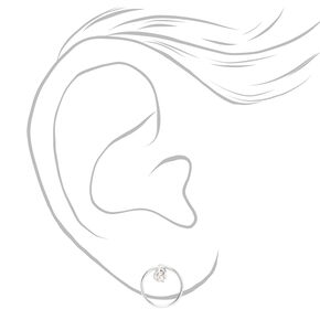 Clous d'oreilles circulaires en zircon cubique d'imitation couleur argentée - 3mm,