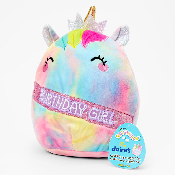 "Squishmallows™ 8"" Claire's Exclusive Birthday Girl Unicorn Plush Toy,"