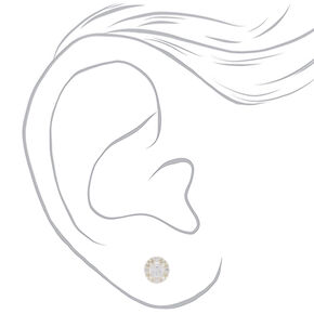 Sterling Silver Cubic Zirconia Square Halo Stud Earrings - 3MM,