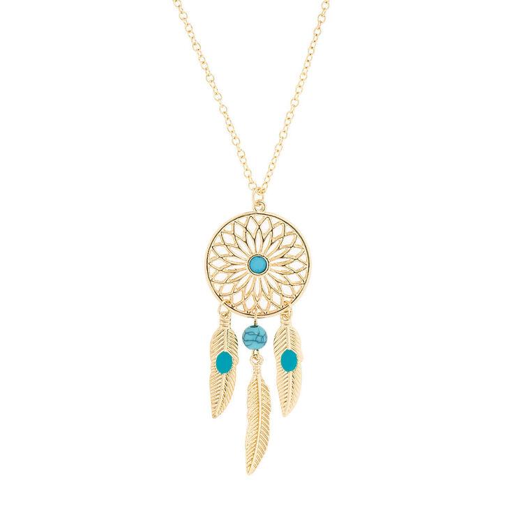Gold dreamcatcher pendant necklace claires us gold dreamcatcher pendant necklace mozeypictures Images