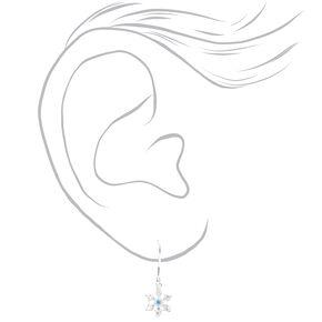 Clous d'oreilles flocons de neige 1,5cm couleur argentée - Bleu,