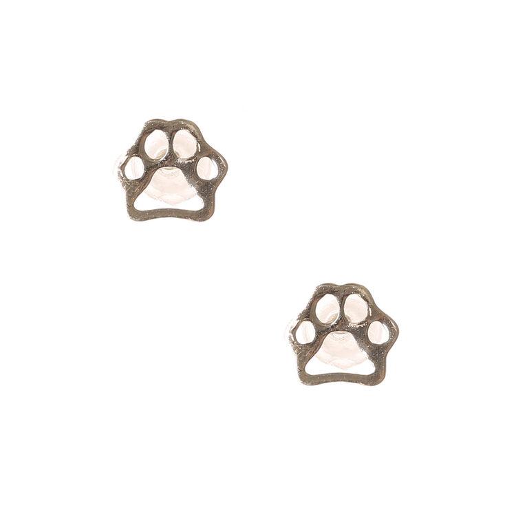 Sterling Silver Paw Print Outline Stud Earrings,