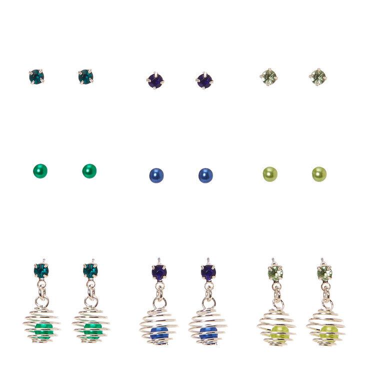 Pendants d'oreilles avec clous présentoir entourés bleus et verts,