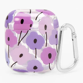 Retro Purple Flower Silicone Earbud Case Cover - Compatible with Apple AirPods,