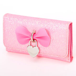 Sparkly Glitter Heart Charm Wallet - Pink,