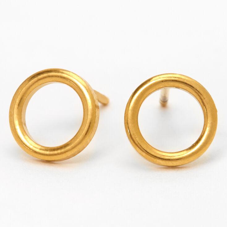 Gold Titanium Open Circle Stud Earrings,