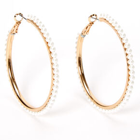 Gold 50MM Pearl Lined Hoop Earrings,