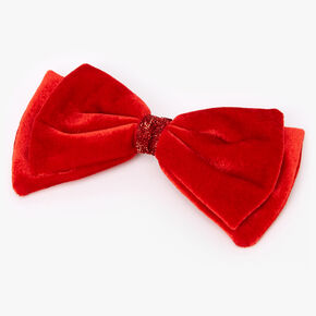 Velvet Bow Hair Clip - Red,