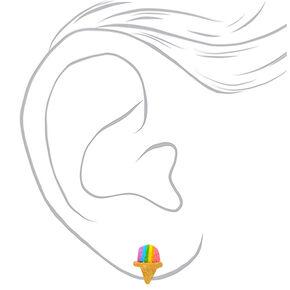 Silver Rainbow Snow Cone Stud Earrings,