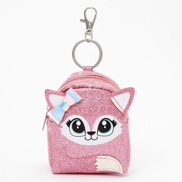 Glitter Fox Mini Backpack Keychain - Pink,