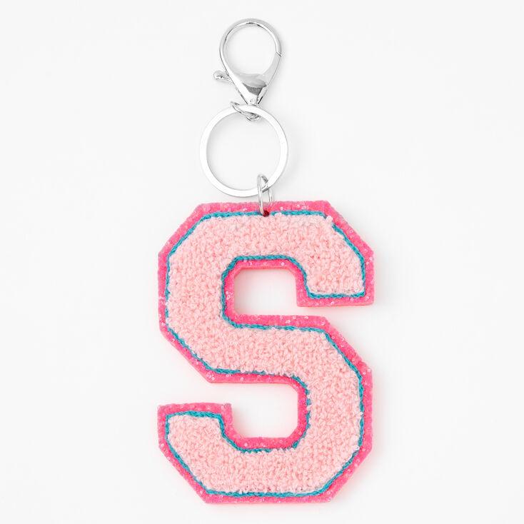 Pink Varsity Initial Keyring - S,
