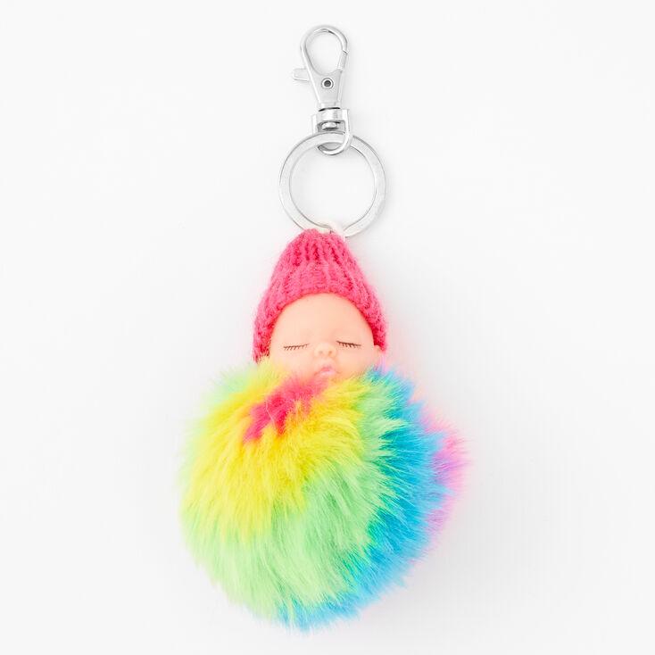 Rainbow Pom Baby Keychain,