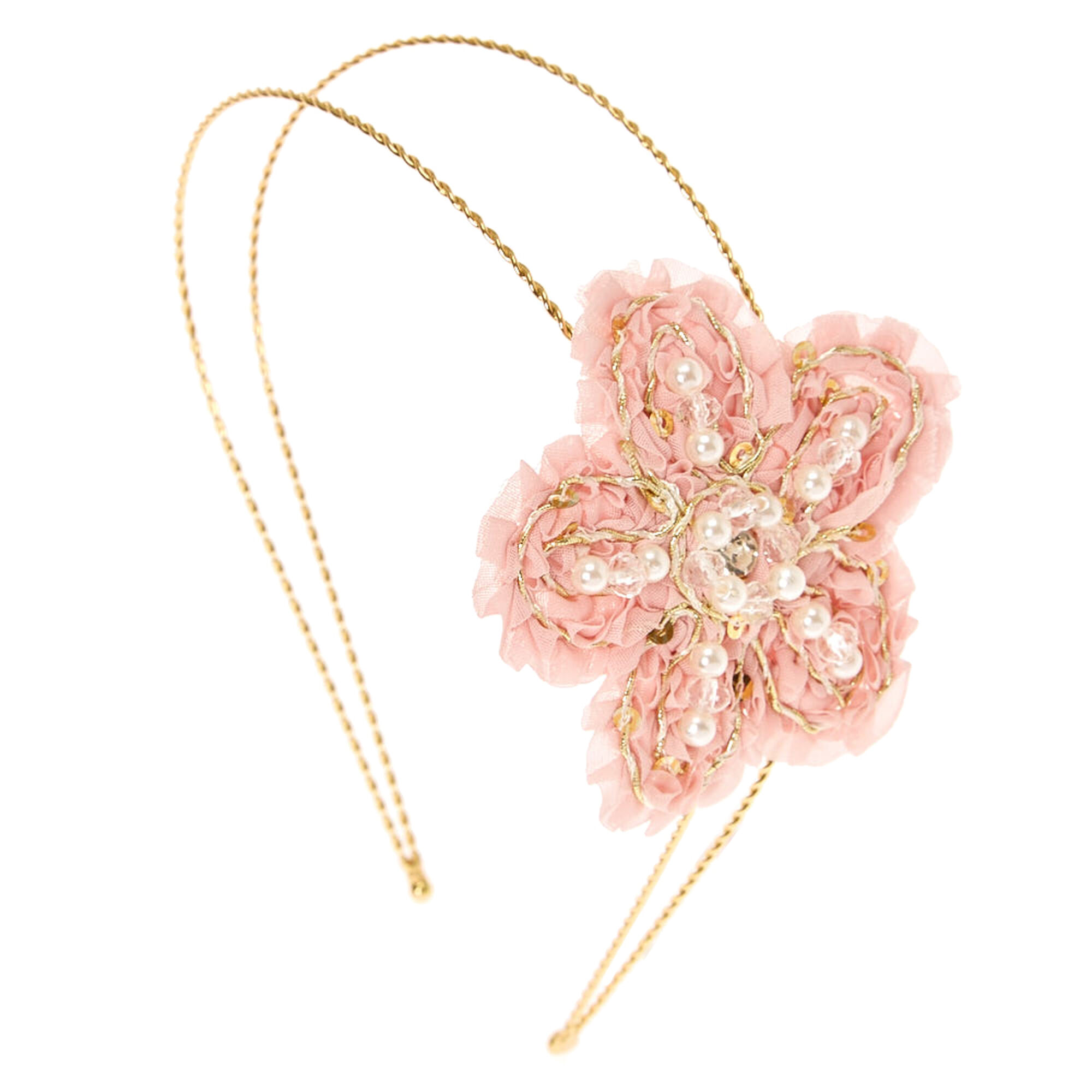 Pink Pearly Flower Headband Claires
